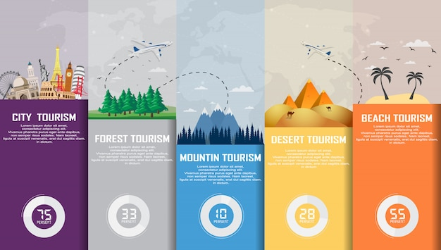 Reis infographic. tijd om te reizen, toerisme, zomervakantie.