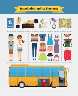 Reis infographics elementen. meisje en jongen, recreatie en vrije tijd en reis. vector illustratie