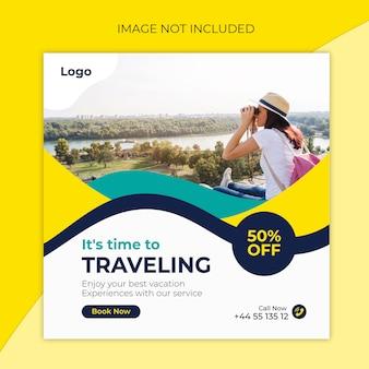 Reis instagram postsjabloon of vierkante banner door reisbureaus