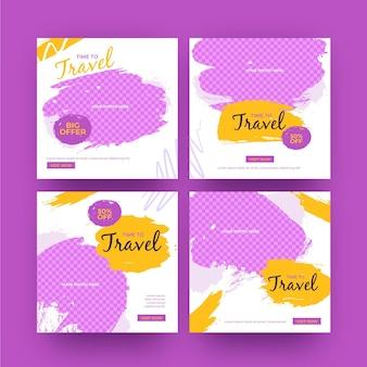 Reis instagram postverzameling met penseelstreken Gratis Vector