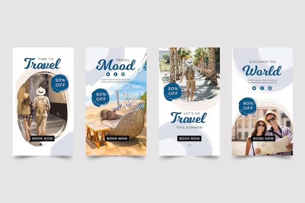 Reis instagram-verhaalpakket met penseelstreken