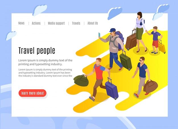 Reis mensen bestemmingspagina met tekstinformatie en isometrisch van trage passagiers met bagage die naar de terminal loopt