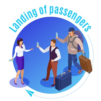 Reis mensen rond geïllustreerde luchthavenmedewerker die de landing van vliegtuigpassagiers isometrisch controleert