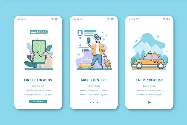 Reis met taxi mobiel interfaceontwerp