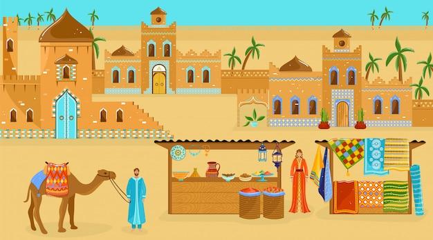 Reis naar afrika illustratie, cartoon vlakke woestijn afrikaanse landschap met oude huizen gebouwen of kasteel, straatmarkt winkels
