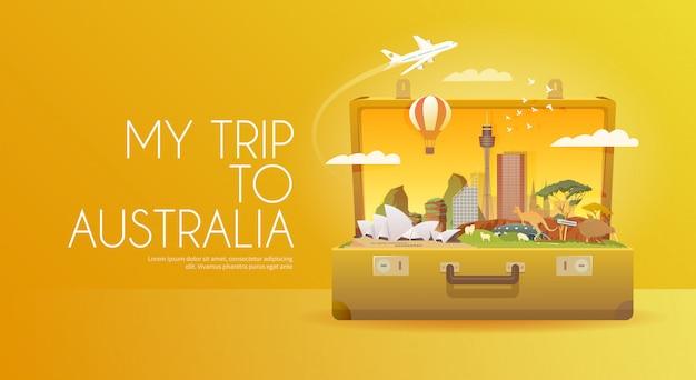 Reis naar australië. open koffer met oriëntatiepunten.