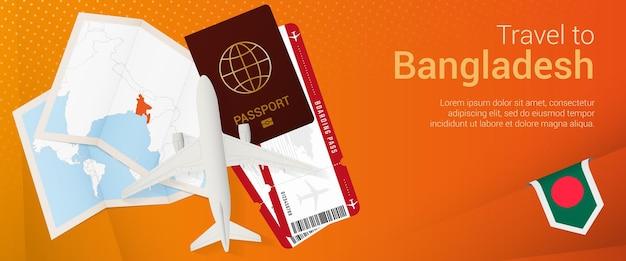 Reis naar bangladesh pop-under banner. reisbanner met paspoort, kaartjes, vliegtuig, instapkaart, kaart en vlag van bangladesh.