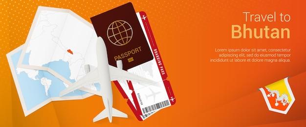 Reis naar bhutan pop-under banner. reisbanner met paspoort, kaartjes, vliegtuig, instapkaart, kaart en vlag van bhutan.