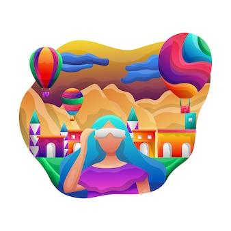 Reis naar cappadocië vectorillustratie