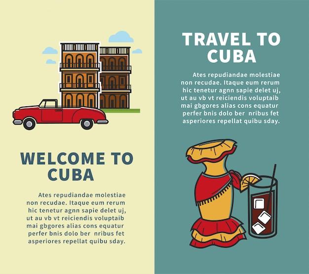 Reis naar cuba verticaal ontwerp met voorbeeldtekstsjabloon