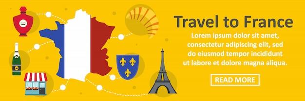 Reis naar de banner horizontaal concept van frankrijk