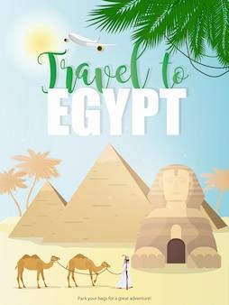 Reis naar de banner van egypte. egyptische sfinx, piramides, palmbomen en kamelen. zeer geschikt voor reclamereizen naar egypte.