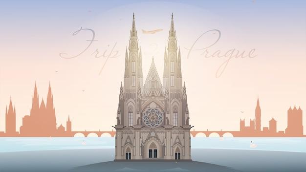 Reis naar de banner van praag. oriëntatiepunt van de st. vitus-kathedraal van praag.