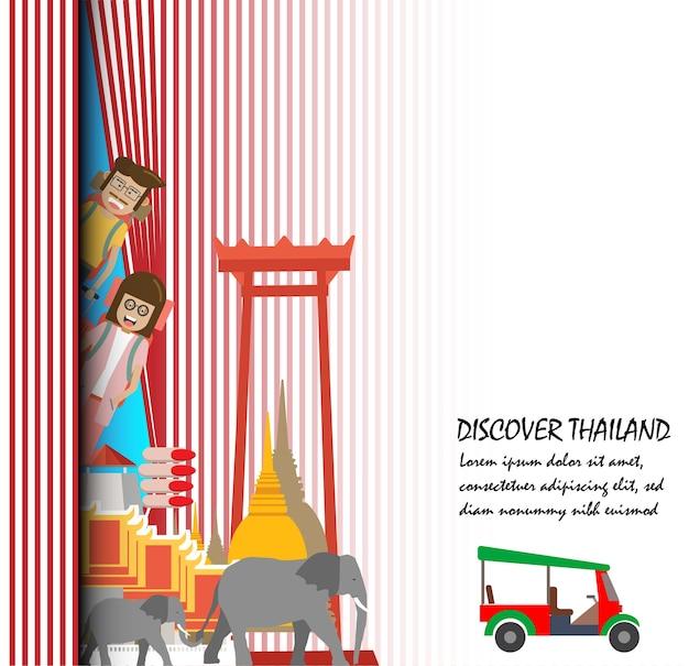 Reis naar de presentatiesjabloon van thailand.