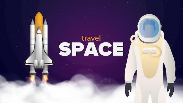 Reis naar de ruimte. de astronaut in een beschermend pak. ruimteschip.