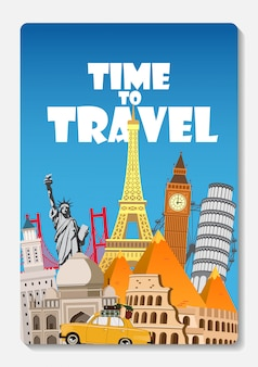 Reis naar de wereld. grote reeks beroemde bezienswaardigheden van de wereld. tijd om te reizen. platte ontwerp illustratie