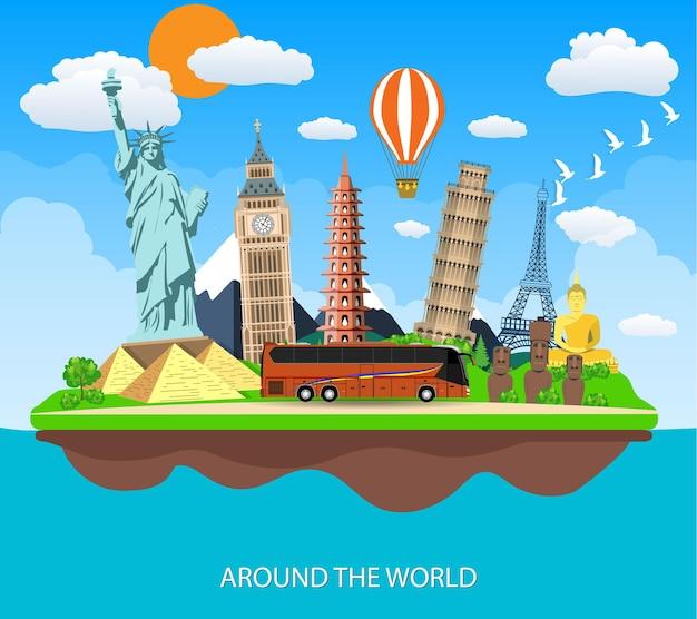 Reis naar de wereld. reis naar de wereld. vakantie. Premium Vector