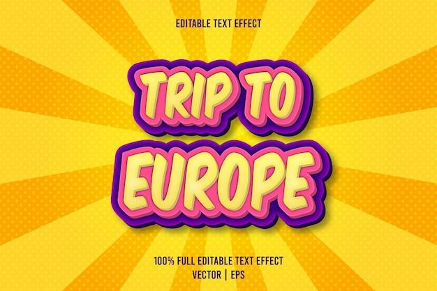 Reis naar europa bewerkbare teksteffect reliëf cartoon stijl