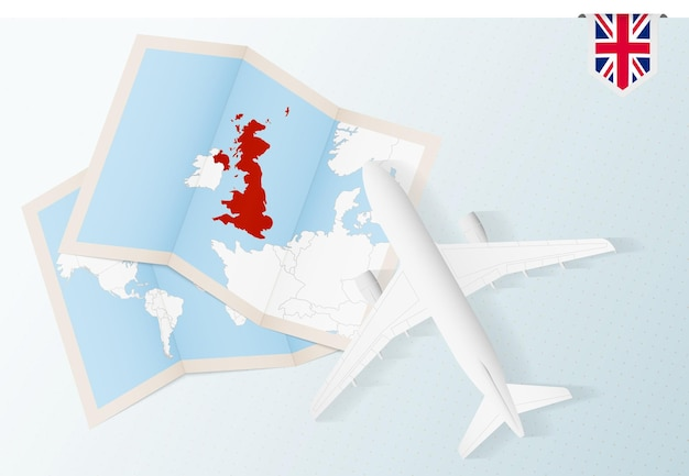 Reis naar het verenigd koninkrijk, bovenaanzicht vliegtuig met kaart en vlag van het verenigd koninkrijk.