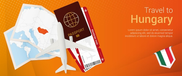 Reis naar hongarije pop-under banner. reisbanner met paspoort, kaartjes, vliegtuig, instapkaart, kaart en vlag van hongarije.