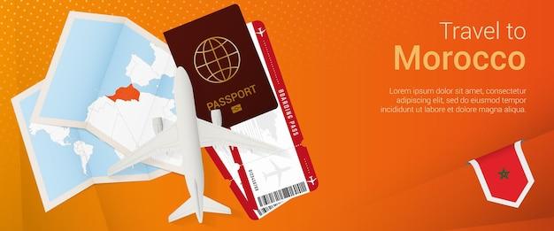 Reis naar marokko pop-under banner. reisbanner met paspoort, kaartjes, vliegtuig, instapkaart, kaart en vlag van marokko.