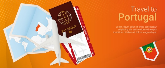 Reis naar portugal pop-under banner. reisbanner met paspoort, kaartjes, vliegtuig, instapkaart, kaart en vlag van portugal.