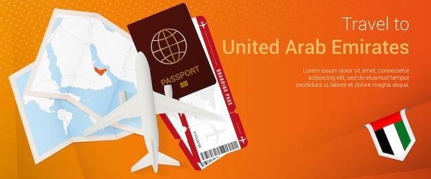 Reis naar verenigde arabische emiraten banner reisbanner met paspoortkaartjes instapkaart voor vliegtuig