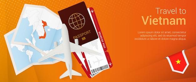 Reis naar vietnam pop-under banner. reisbanner met paspoort, kaartjes, vliegtuig, instapkaart, kaart en vlag van vietnam.