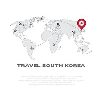 Reis naar zuid-korea poster wereldkaart achtergrond toerisme bestemming concept poster