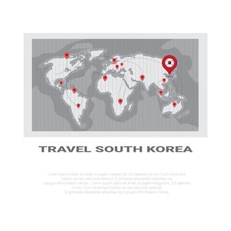 Reis naar zuid-korea poster wereldkaart