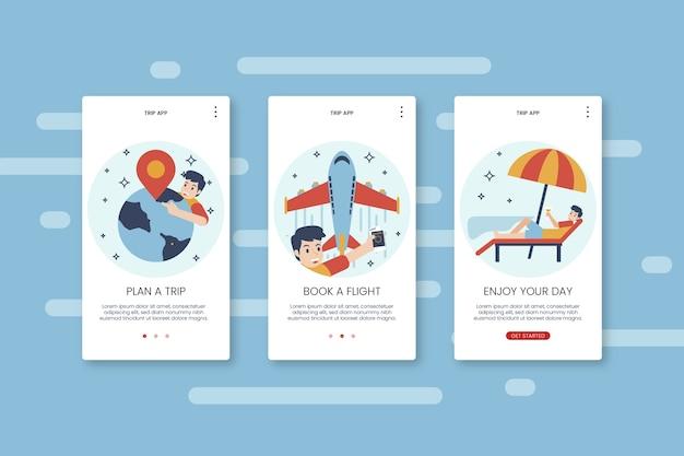 Reis onboarding app-schermen met telefoon