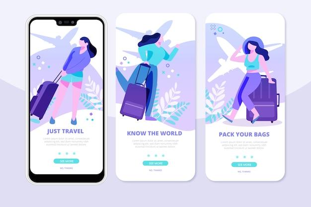Reis onboarding apps op mobiele telefoon
