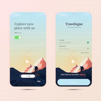 Reis onboarding mobiele app met inlogscherm en startscherm