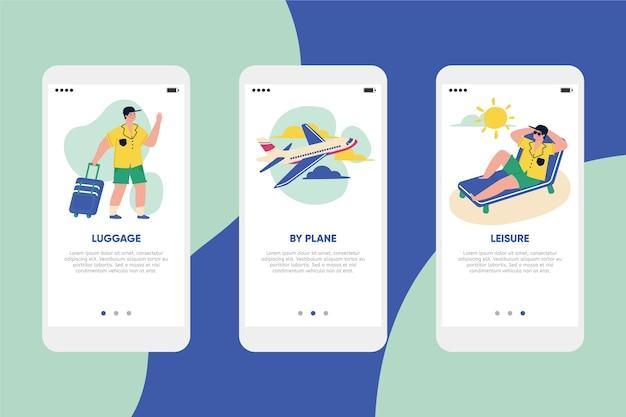 Reis online onboarding app-schermen