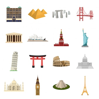 Reis oriëntatiepunt cartoon ingesteld pictogram. illustratie architectuur monument. geïsoleerde cartoon set icon reizen landmark.
