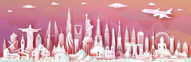 Reis oriëntatiepunten wereld met moderne belangrijke architecturale monumenten van wereld.