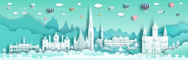 Reis oude architectuur oostenrijk oriëntatiepunten beroemde stad van europa met groene achtergrond