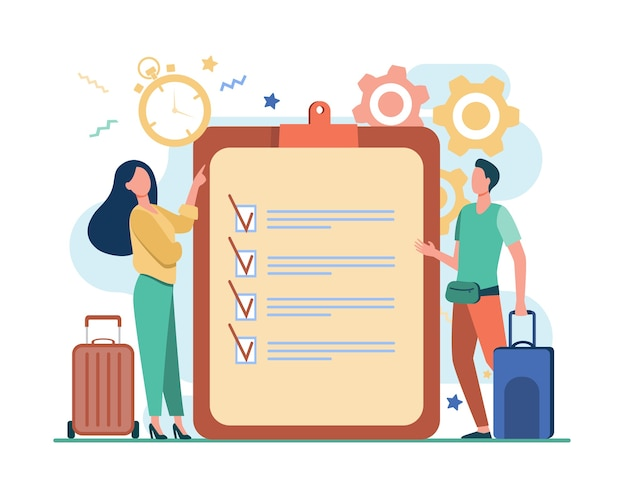 Reis paklijst. man en vrouw met koffers staan op controlelijst en timer vlakke afbeelding.
