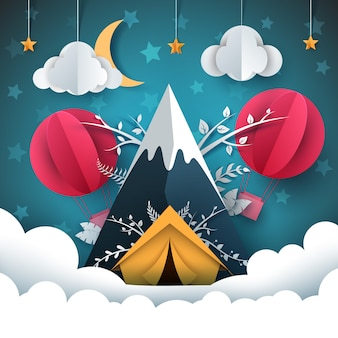 Reis papier illustratie. berg, tent, luchtballon