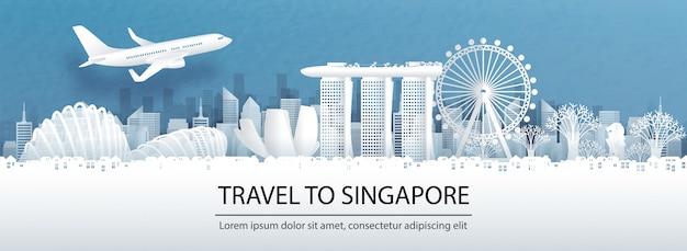 Reis reclame met reizen naar het concept van singapore met panoramamening