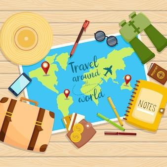 Reis rond de wereld illustratie