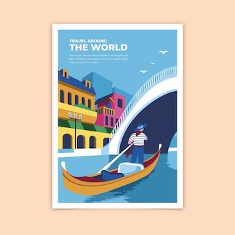 Reis rond de wereld kleurrijke poster