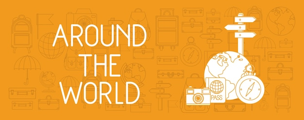 Reis rond de wereld stel pictogrammen