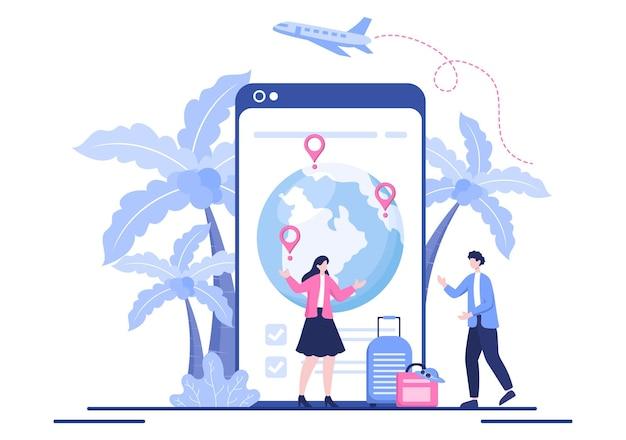 Reis rond de wereld vector illustratie achtergrond. tijd om iconen en andere toeristische attracties van het land te bezoeken