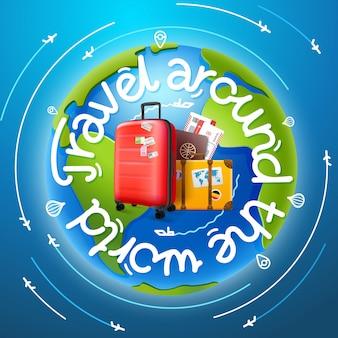 Reis rond de wereldconcept met het van letters voorzien, kaart en bagage