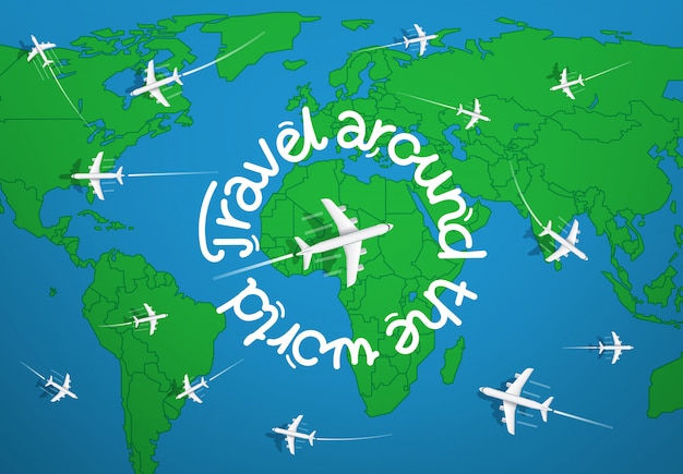 Reis rond het wereldconcept met kaart en vliegtuigen