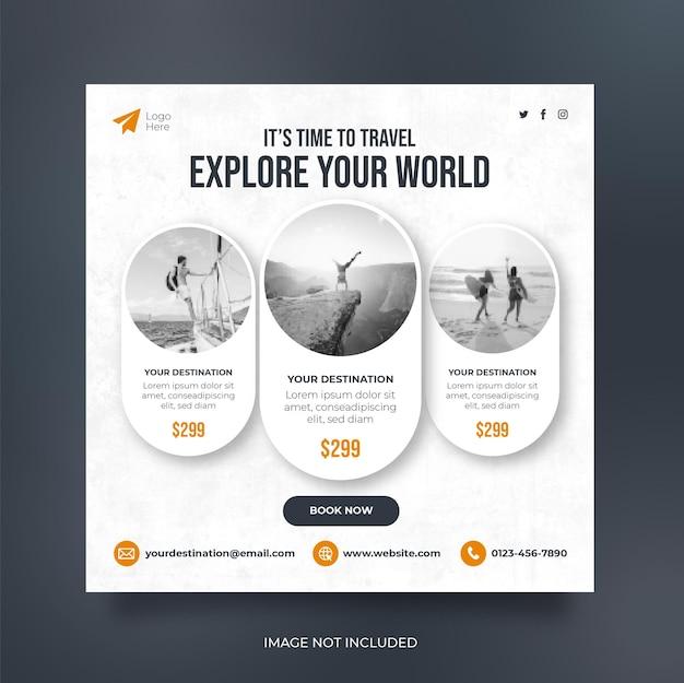 Reis sociale media plaatsen webbanner