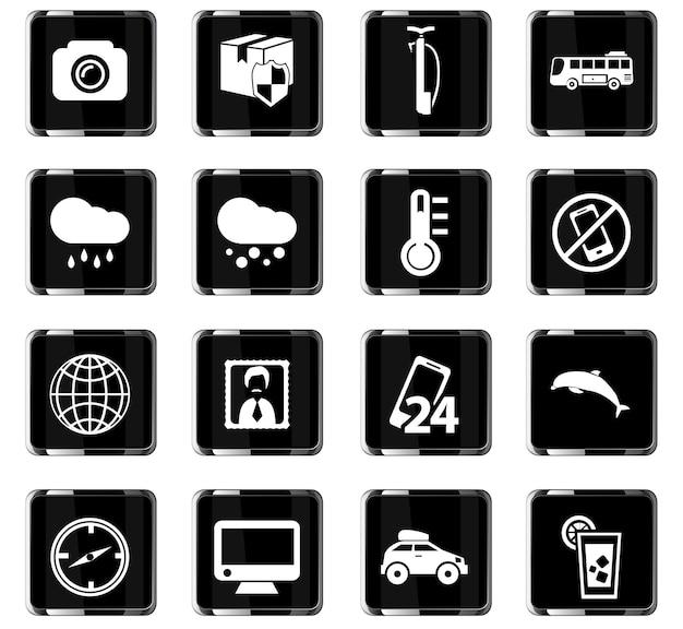 Reis vectorpictogrammen voor gebruikersinterfaceontwerp