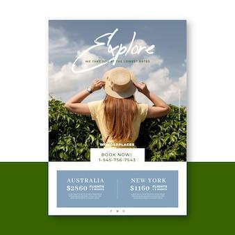 Reis verkoop flyer ontwerp met foto
