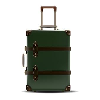 Reis zaken groene koffer in leer geïsoleerd op een witte achtergrond